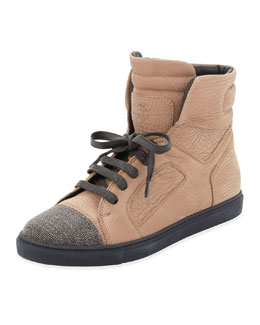 Brunello Cucinelli Monili-Toe Nubuck High-Top Sneaker, Biscotti