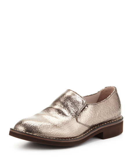 Crackle Metallic Slip-On Loafer, Silver