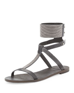 Brunello Cucinelli Flat Sandal with Ball Chain Trim, Charcoal