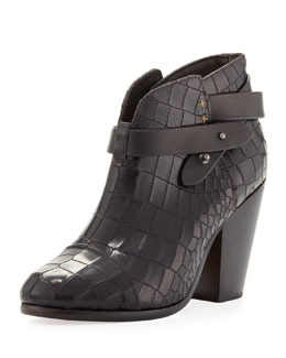 Rag & Bone Harrow Crocodile-Embossed Ankle Boot, Black