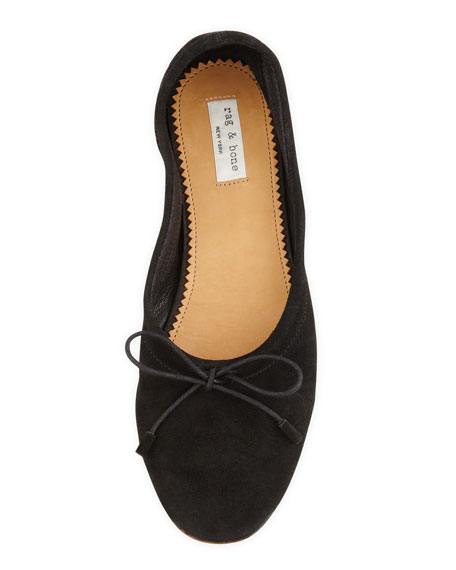 Cantor Suede Bow Ballerina Flat, Black