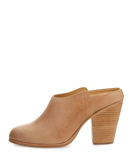 Enid Leather Slide-On Mule, Sable