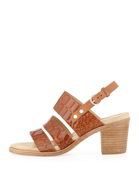 Folsom Croc-Embossed Sandal, Tan