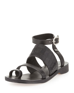 Rag & Bone Chartan Croc-Embossed Toe-Ring Sandal