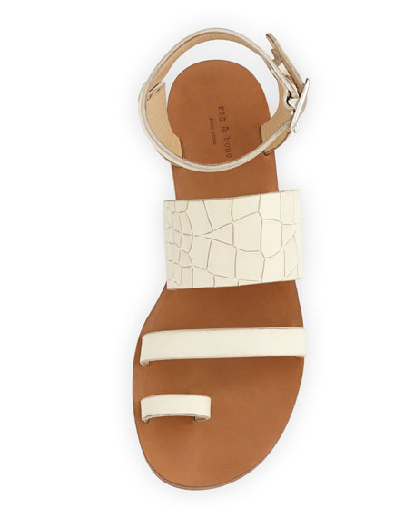Chartan Croc-Embossed-Leather Strappy Sandals, White