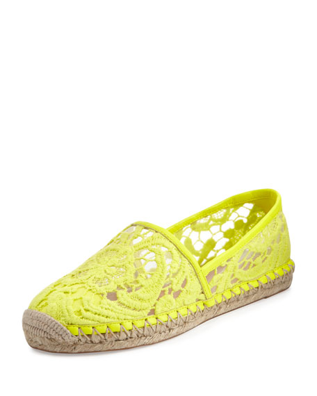 Genny Lace Espadrille Flat, Acid Yellow