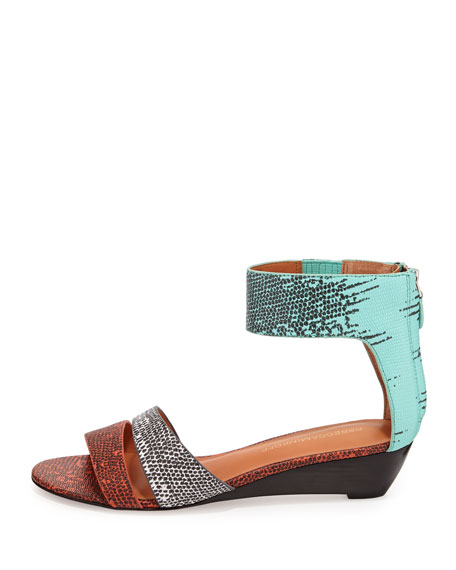 Lore Lizard-Print Demi-Wedge Sandal