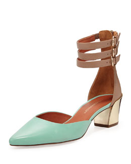 Rebecca Minkoff Irvin d'Orsay Low-Heel Pump, Mint Green