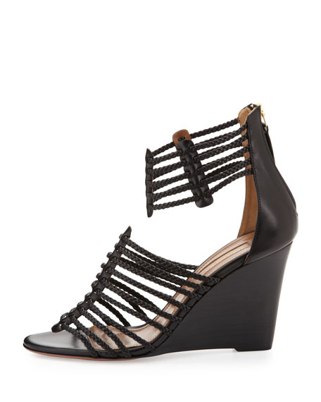 Venus Woven Strappy Wedge Sandal, Black