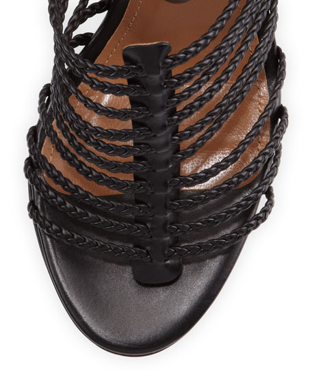Venus Woven Strappy Wedge Sandal, Black