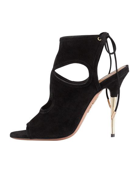 Suede Tie-Back Sandal, Black