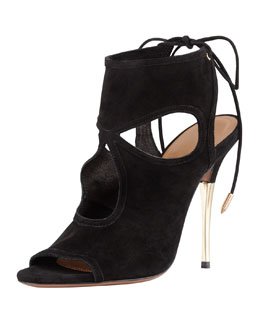 Aquazzura Suede Tie-Back Sandal, Black