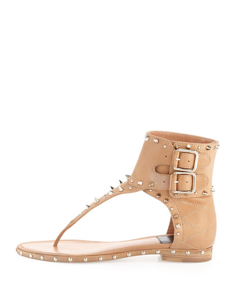 Flash Studded Double-Buckle Thong Sandal