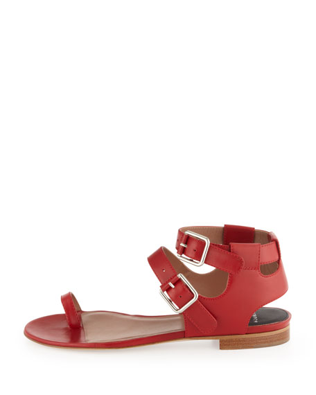 Double-Buckle Leather Sandal, Red