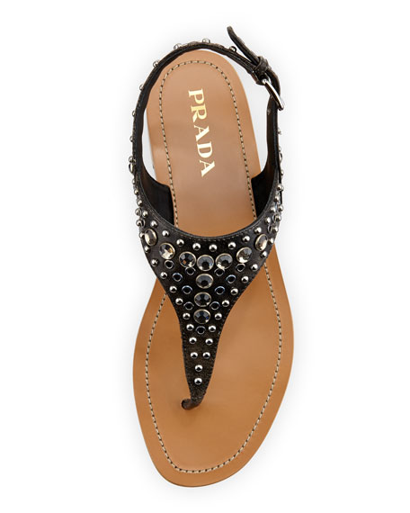 Vitello Vintage Studded Thong Sandal, Black