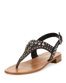 Prada Vitello Vintage Studded Thong Sandal, Black