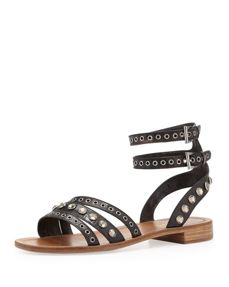 Double Ankle-Wrap Flat Sandal, Black/Brown