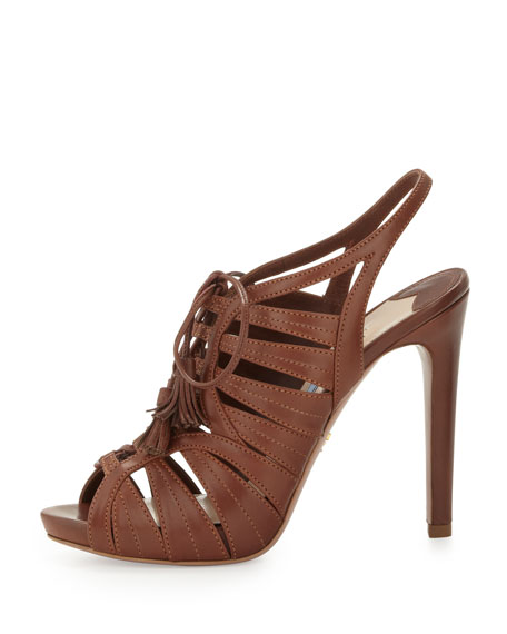 Strappy Leather Tassel Sandal, Brown