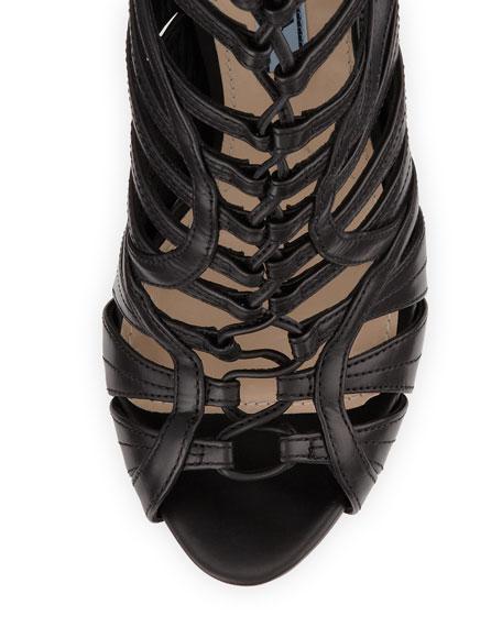 Strappy Leather Tassel Bootie, Black