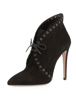 Prada Eyelet Suede Lace-Up Bootie, Black