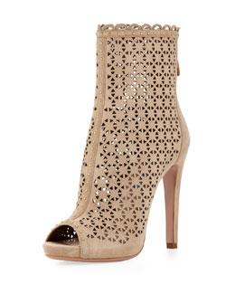Prada Perforated Suede Ankle Boot, Sand