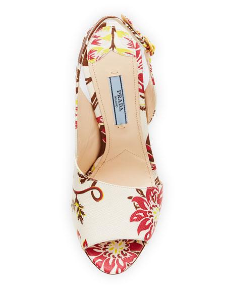 Floral Half-d'Orsay Halter Sandal, White