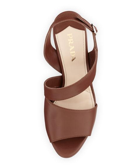 Asymmetric Calfskin Wedge Sandal, Brown