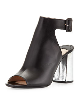 Prada Leather Bicolor Open-Toe Ankle-Wrap Bootie