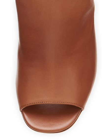 Leather Bicolor Open-Toe Ankle-Wrap Bootie
