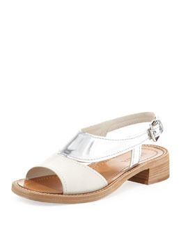 Prada Metallic Bicolor Low-Heel Sandal, White/Silver