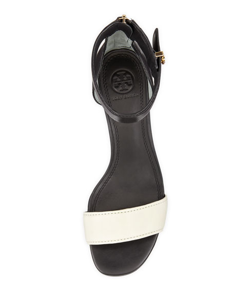 Tana Ankle-Wrap City Sandal, Black/Ivory