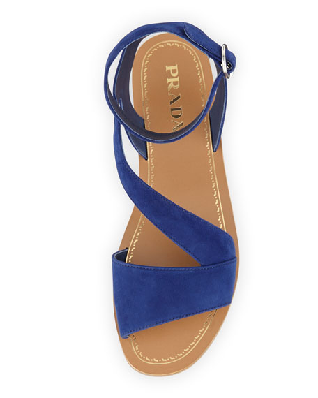 Suede Ankle-Wrap Sandal, Navy