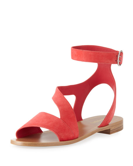 Suede Ankle-Wrap Sandal, Coral
