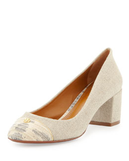Tory Burch Ethel Linen Cap-Toe Pump, Natural