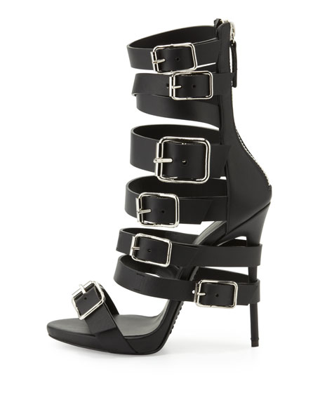 Buckled Strap Leather Sandal, Nero