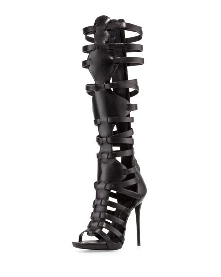 High-Heel Caged Knee Sandal