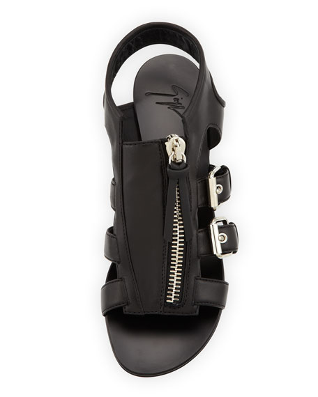 Buckled Zip-Up Cage Sandal, Black
