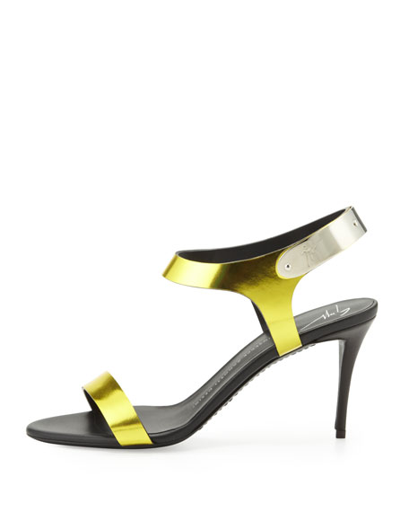 Mirrored Metal-Strap Sandal, Lemon