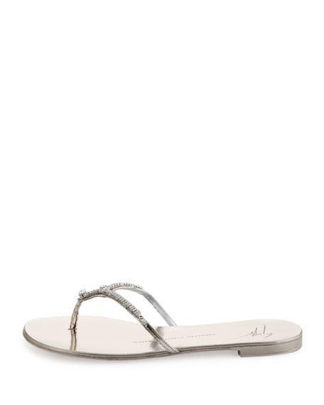 Crystal Thong Sandal, Platino