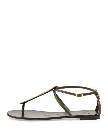 Crystal Studded Thong Sandal, Olive