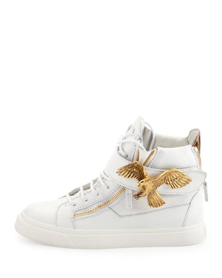 Eagle Side Zip Hi-Top Sneaker, White