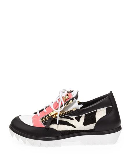 Zebra-Print Side Zip Sneaker, Black/Pink