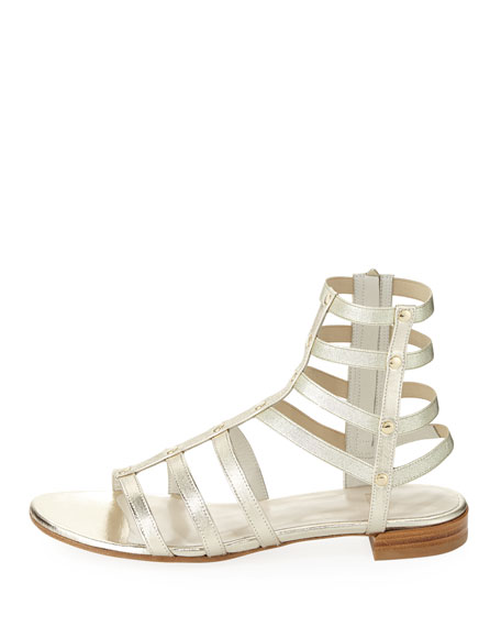 Caesar Metallic Leather Gladiator Sandal, Cava