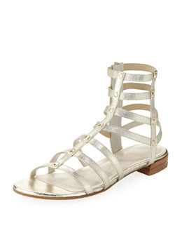 Stuart Weitzman Caesar Metallic Leather Gladiator Sandal, Cava (Made to Order)