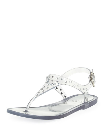Stuart Weitzman Glotacks Embellished Jelly Sandal, Clear