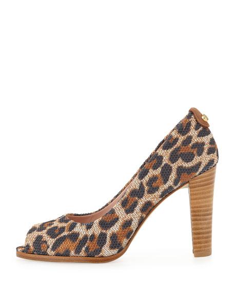 Lille Leopard-Print Fabric Pump
