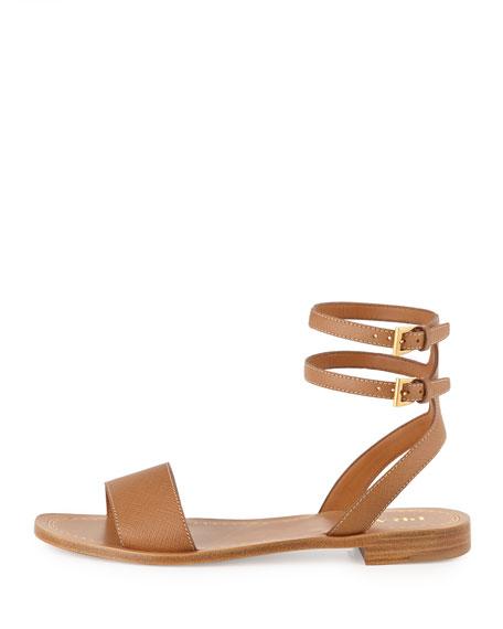 24cb22f0b Prada Saffiano Double Ankle-Wrap Sandal