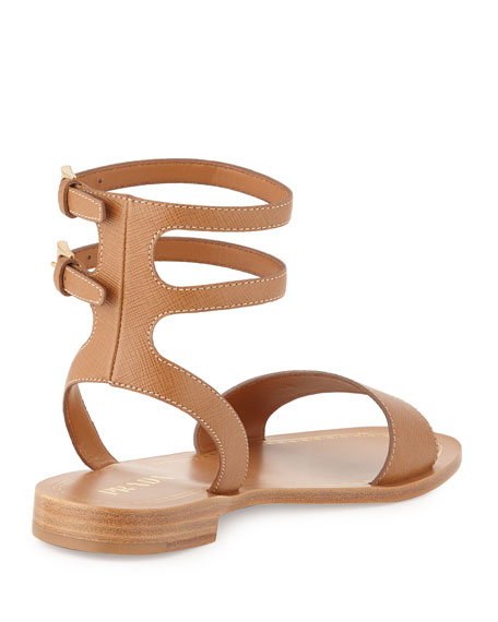 Prada Saffiano Ankle-Strap Sandals free shipping countdown package FzzrwPu