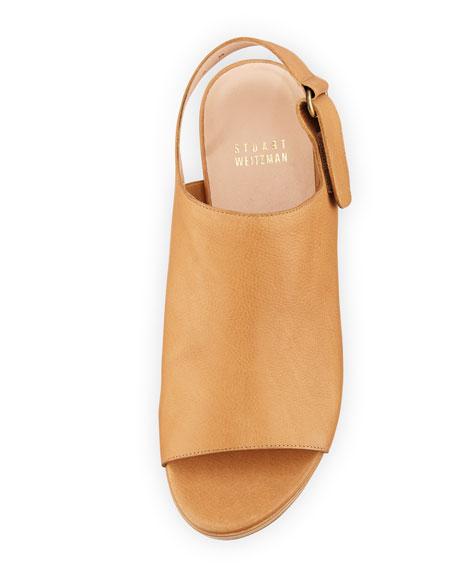 Offset Leather Peep-Toe Wedge, Pecan