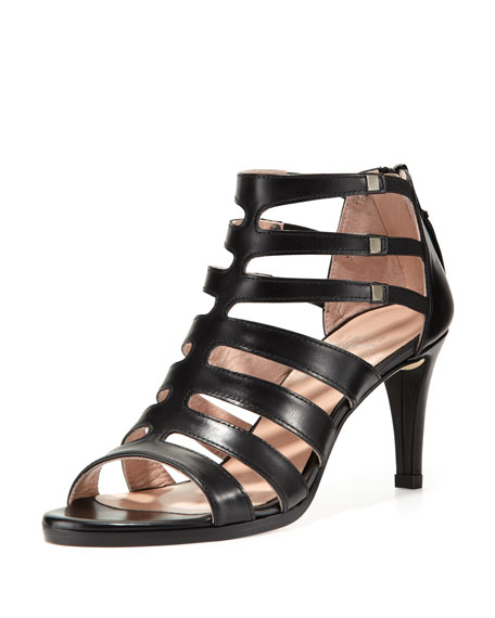 Stuart Weitzman Outbound Strappy Leather Mid-Heel Sandal Black